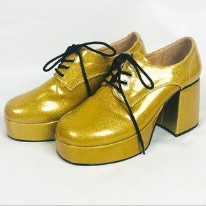 Funtasma | Mens Metallic Gold 70s Disco Shoes Jazz